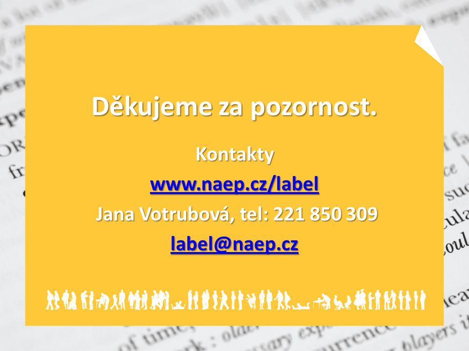 Děkujeme za pozornost. Kontakty www.naep.cz/label Jana Votrubová, tel: 221 850 309 Jana Votrubová, tel: 221 850 309 label@naep.cz