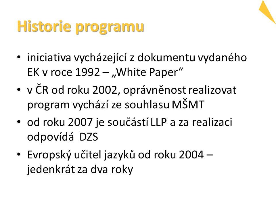 """Historie programu iniciativa vycházející z dokumentu vydaného EK v roce 1992 – """"White Paper v ČR od roku 2002, oprávněnost realizovat program vychází ze souhlasu MŠMT od roku 2007 je součástí LLP a za realizaci odpovídá DZS Evropský učitel jazyků od roku 2004 – jedenkrát za dva roky"""