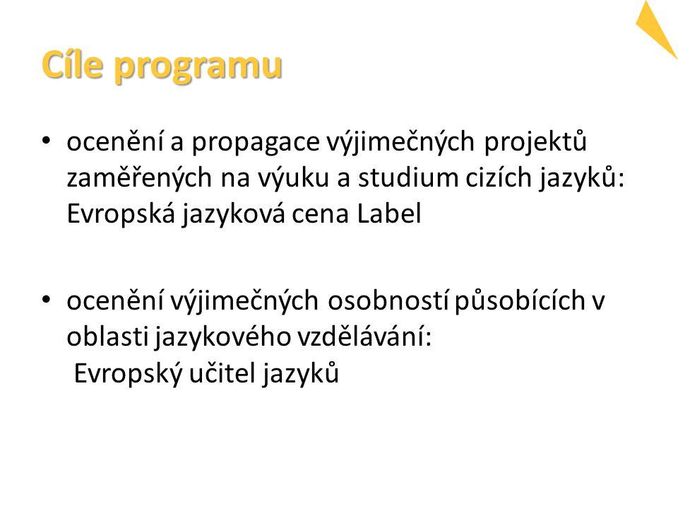 Cíle programu ocenění a propagace výjimečných projektů zaměřených na výuku a studium cizích jazyků: Evropská jazyková cena Label ocenění výjimečných osobností působících v oblasti jazykového vzdělávání: Evropský učitel jazyků