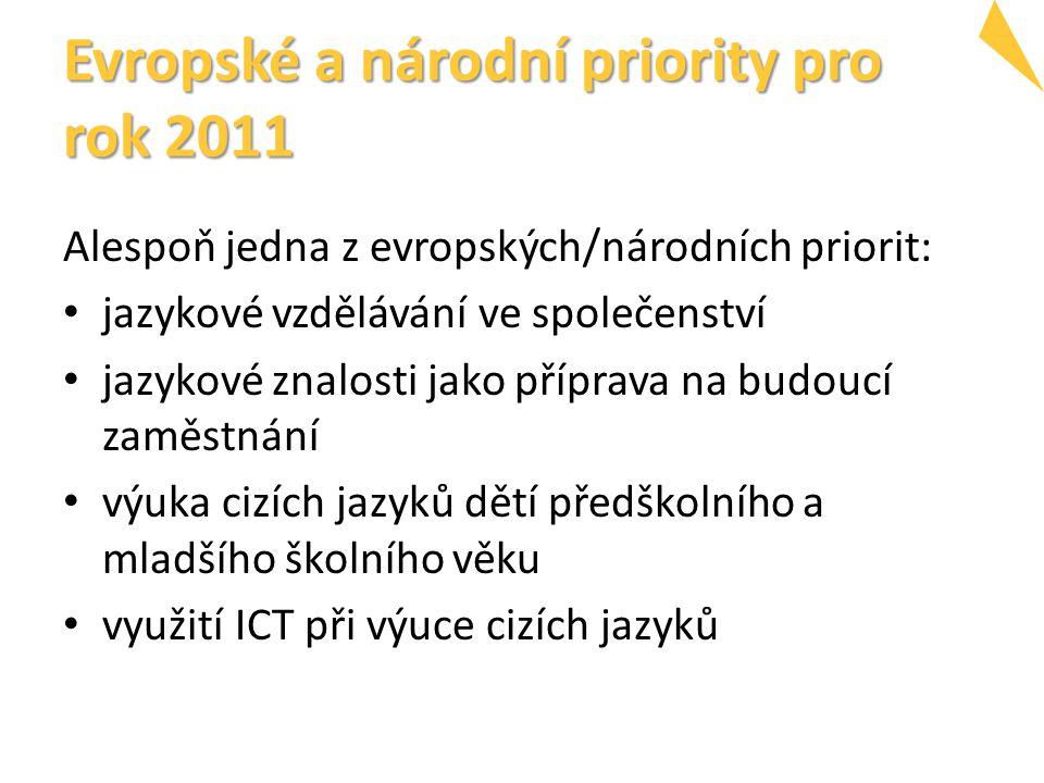 Evropské a národní priority pro rok 2011 Alespoň jedna z evropských/národních priorit: jazykové vzdělávání ve společenství jazykové znalosti jako příprava na budoucí zaměstnání výuka cizích jazyků dětí předškolního a mladšího školního věku využití ICT při výuce cizích jazyků
