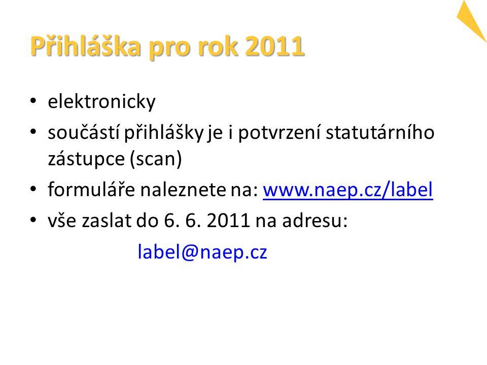 Přihláška pro rok 2011 elektronicky součástí přihlášky je i potvrzení statutárního zástupce (scan) formuláře naleznete na: www.naep.cz/labelwww.naep.cz/label vše zaslat do 6.