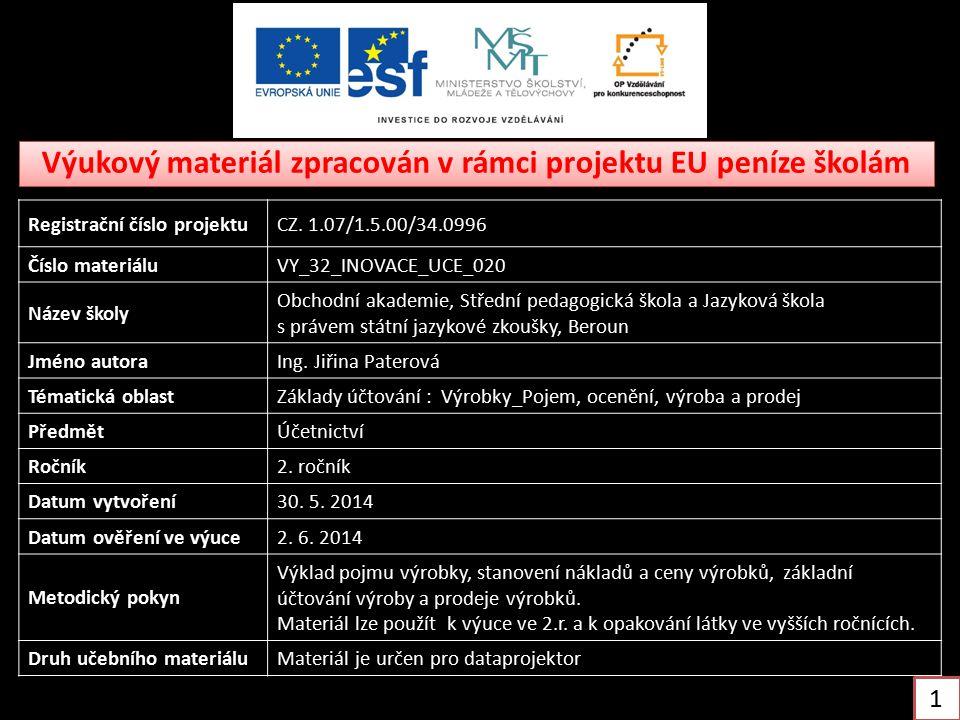 Výukový materiál zpracován v rámci projektu EU peníze školám Registrační číslo projektuCZ. 1.07/1.5.00/34.0996 Číslo materiáluVY_32_INOVACE_UCE_020 Ná