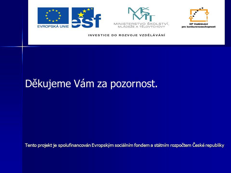 Děkujeme Vám za pozornost. Tento projekt je spolufinancován Evropským sociálním fondem a státním rozpočtem České republiky