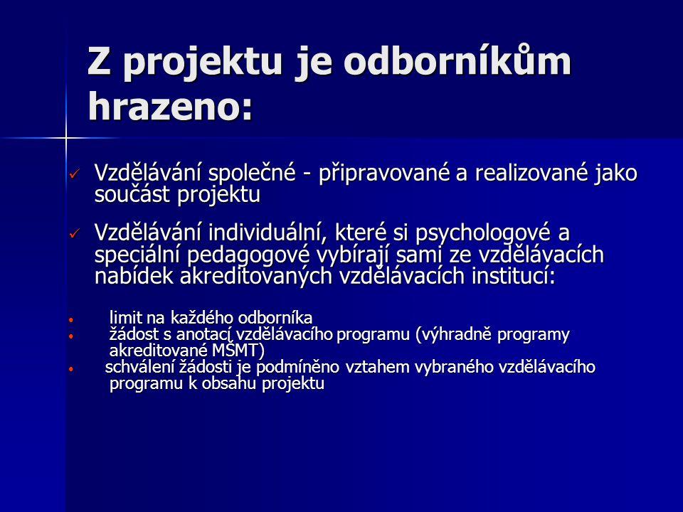 Vzdělávání připravované a realizované jako součást projektu Je určeno pro odborníky jedné profese – buď psychology nebo speciální pedagogy Je určeno pro odborníky jedné profese – buď psychology nebo speciální pedagogy Metodik pro vzdělávání psychologů: PhDr.