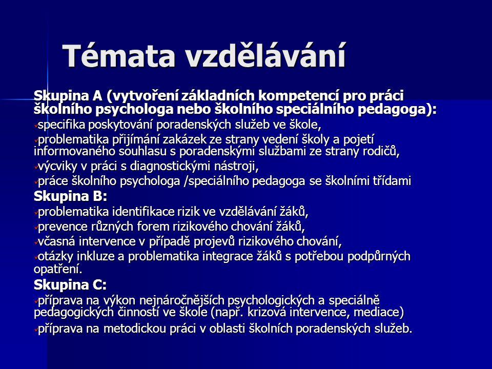 Témata vzdělávání Skupina A (vytvoření základních kompetencí pro práci školního psychologa nebo školního speciálního pedagoga): specifika poskytování