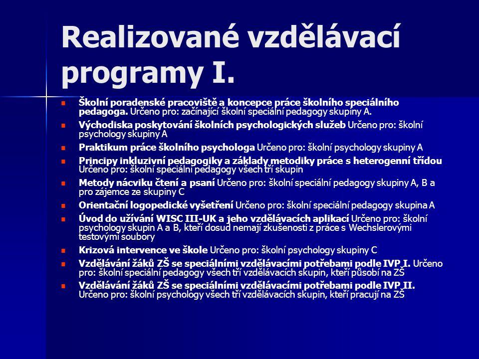 Realizované vzdělávací programy I. Školní poradenské pracoviště a koncepce práce školního speciálního pedagoga. Určeno pro: začínající školní speciáln