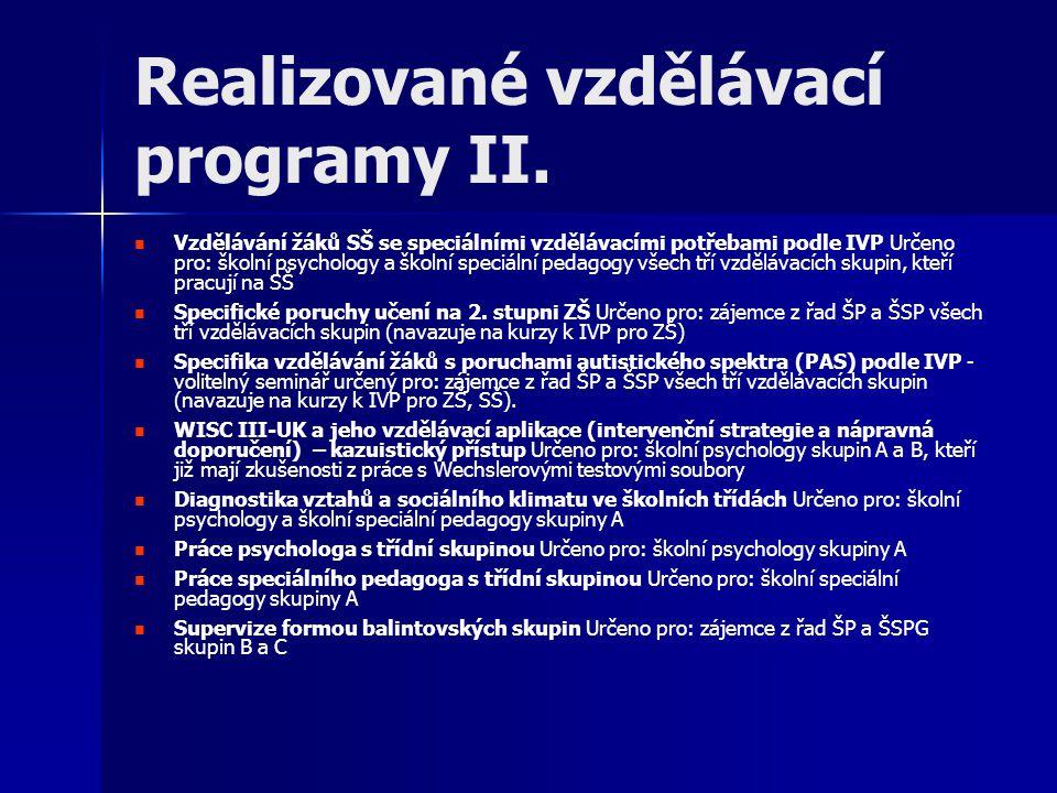 Realizované vzdělávací programy III.Výchovné problémy a poruchy chování na ZŠ – I.