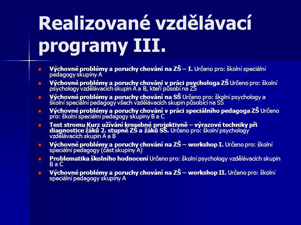 Organizace a čísla Vzdělávání je připravováno od počátku projektu, realizováno je od října 2009 Dosud se uskutečnilo celkem 45 jedno až dvoudenních kurzů, seminářů, workshopů a výcviků Průměrný počet účastníků na jedné vzdělávací akci je 17 (menší počet účastníků umožňuje využití efektivnějších forem vzdělávání) Vzdělávání se koná v IPPP ČR, na vybraných školách, kde působí školní psychologové, a v PPP Brno, kde pracuje několik metodiků pro ŠPP