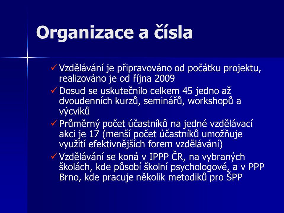 Organizace a čísla Vzdělávání je připravováno od počátku projektu, realizováno je od října 2009 Dosud se uskutečnilo celkem 45 jedno až dvoudenních ku