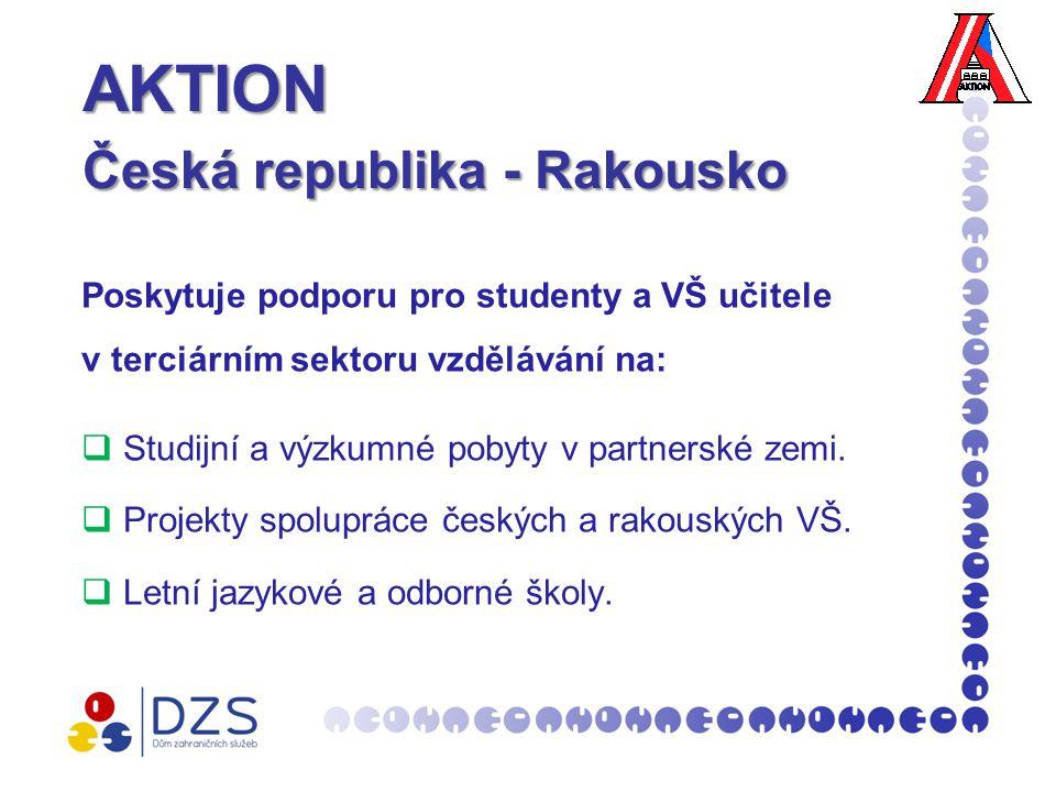 AKTION Česká republika - Rakousko AKTION Česká republika - Rakousko Poskytuje podporu pro studenty a VŠ učitele v terciárním sektoru vzdělávání na:  Studijní a výzkumné pobyty v partnerské zemi.