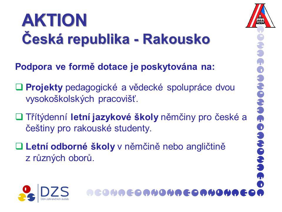 AKTION Česká republika - Rakousko Podpora ve formě dotace je poskytována na:  Projekty pedagogické a vědecké spolupráce dvou vysokoškolských pracovišť.