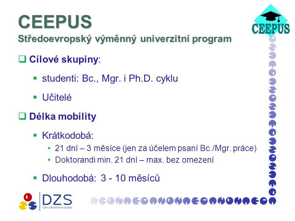 CEEPUS Středoevropský výměnný univerzitní program  Cílové skupiny:  studenti: Bc., Mgr.