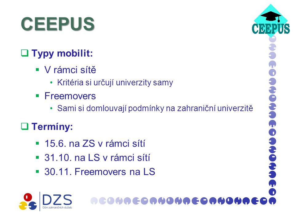 CEEPUS  Typy mobilit:  V rámci sítě Kritéria si určují univerzity samy  Freemovers Sami si domlouvají podmínky na zahraniční univerzitě  Termíny:  15.6.