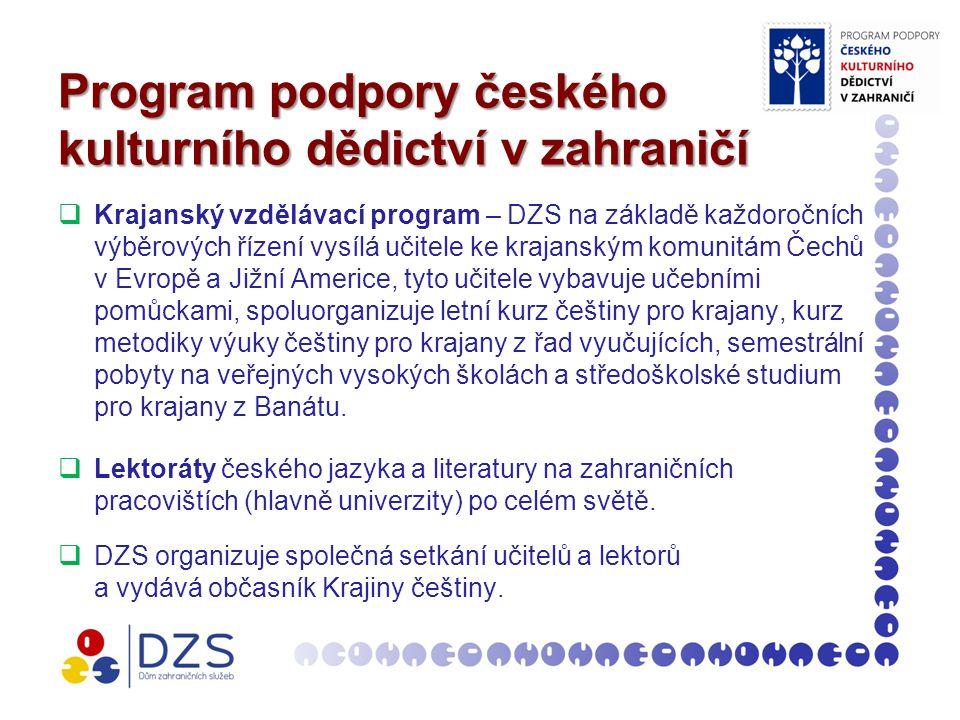Program podpory českého kulturního dědictví v zahraničí  Krajanský vzdělávací program – DZS na základě každoročních výběrových řízení vysílá učitele ke krajanským komunitám Čechů v Evropě a Jižní Americe, tyto učitele vybavuje učebními pomůckami, spoluorganizuje letní kurz češtiny pro krajany, kurz metodiky výuky češtiny pro krajany z řad vyučujících, semestrální pobyty na veřejných vysokých školách a středoškolské studium pro krajany z Banátu.