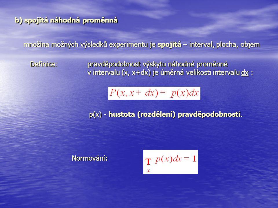 b) spojitá náhodná proměnná b) spojitá náhodná proměnná množina možných výsledků experimentu je spojitá – interval, plocha, objem Definice: pravděpodo