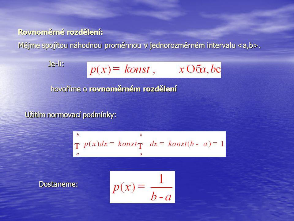 Rovnoměrné rozdělení: Mějme spojitou náhodnou proměnnou v jednorozměrném intervalu. Užitím normovací podmínky: Dostaneme: Je-li: hovoříme o rovnoměrné