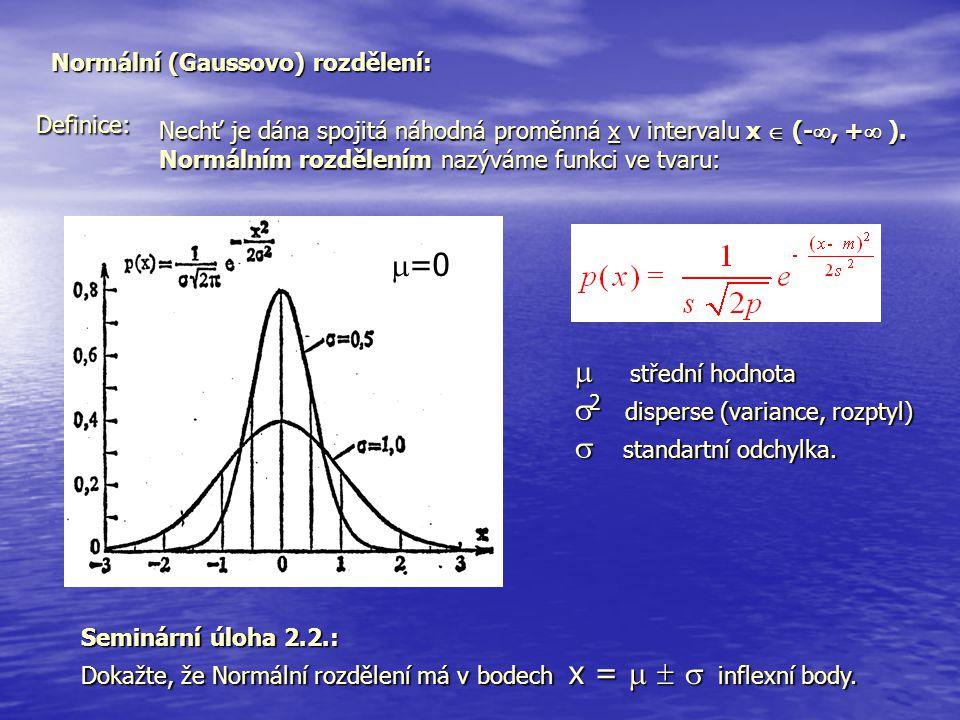 Normální (Gaussovo) rozdělení: Definice: Nechť je dána spojitá náhodná proměnná x v intervalu x  (- , +  ). Normálním rozdělením nazýváme funkci ve
