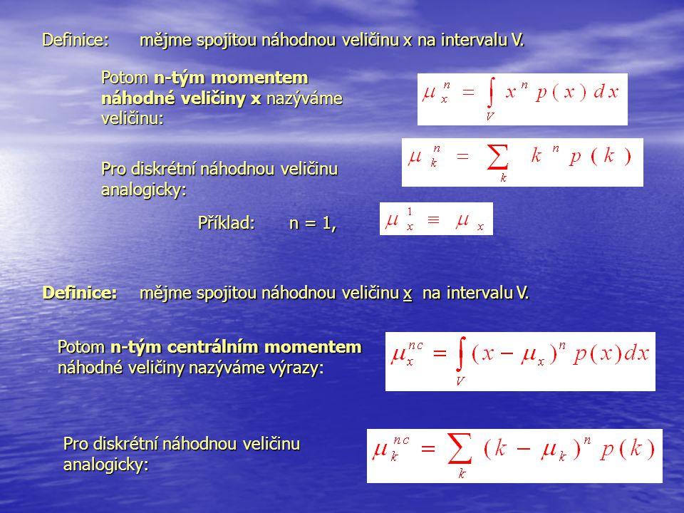 mějme spojitou náhodnou veličinu x na intervalu V. Definice: Pro diskrétní náhodnou veličinu analogicky: Příklad: n = 1, Potom n-tým momentem náhodné