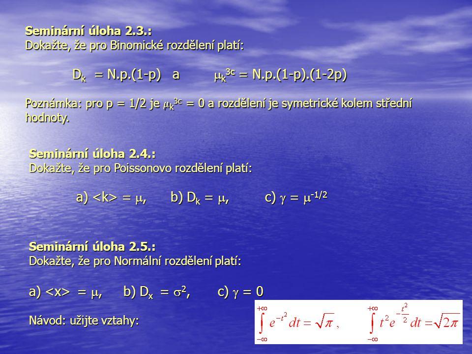 Seminární úloha 2.5.: Dokažte, že pro Normální rozdělení platí: a) = , b) D x =  2, c)  = 0 Návod: užijte vztahy: Seminární úloha 2.3.: Dokažte, že