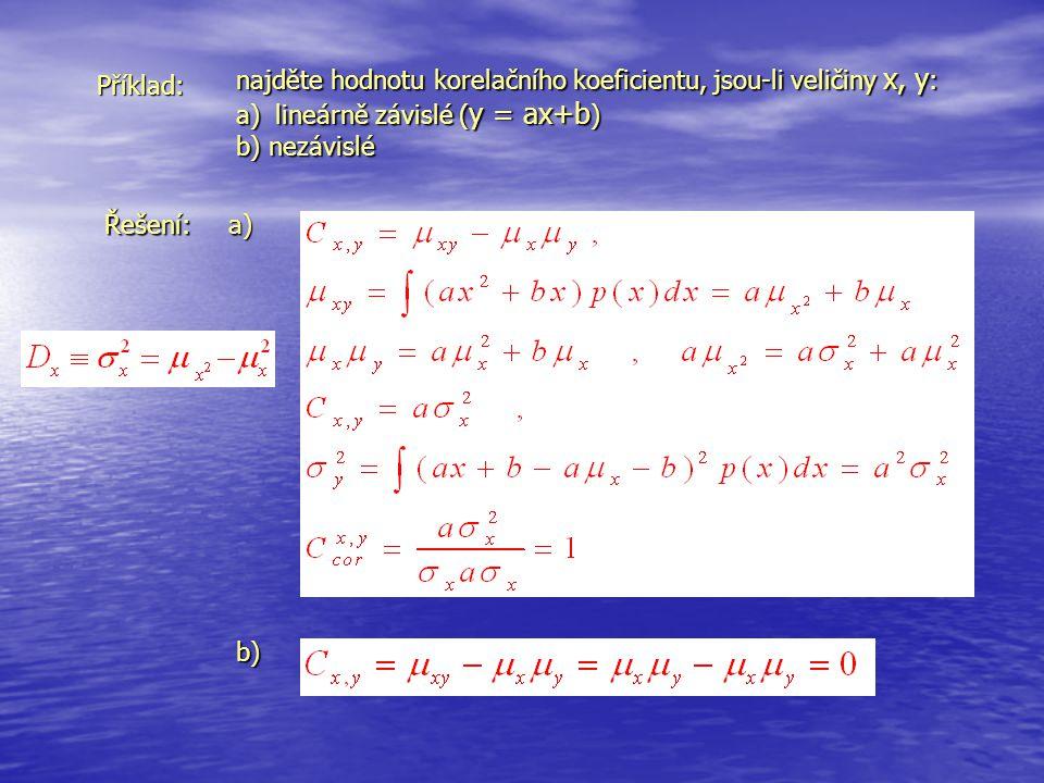 Příklad: najděte hodnotu korelačního koeficientu, jsou-li veličiny x, y : a)lineárně závislé ( y = ax+b ) b) nezávislé Řešení:a) b)