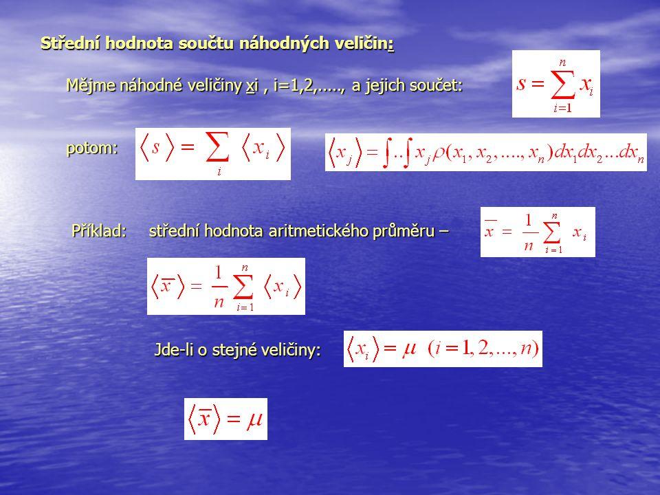 Střední hodnota součtu náhodnýchveličin: Střední hodnota součtu náhodných veličin: Mějme náhodné veličiny xi, i=1,2,....., a jejich součet: potom: Pří