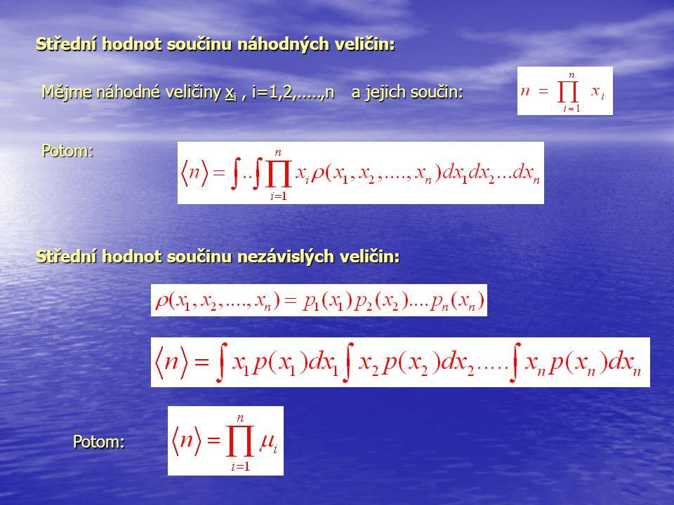 Střední hodnot součinu náhodných veličin: Mějme náhodné veličiny x i, i=1,2,.....,n a jejich součin: Potom: Střední hodnot součinu nezávislých veličin