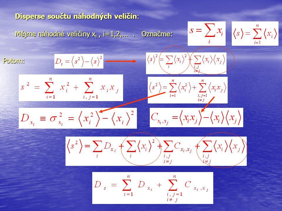 Disperse součtu náhodných veličin: Mějme náhodné veličiny x i, i=1,2,.... Označme: Potom: