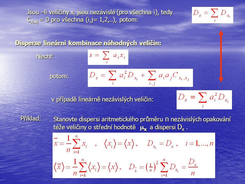 Jsou –li veličiny x i jsou nezávislé (pro všechna i), tedy C xi,xj = 0 pro všechna (i,j= 1,2,..), potom: Disperse lineární kombinace náhodných veličin