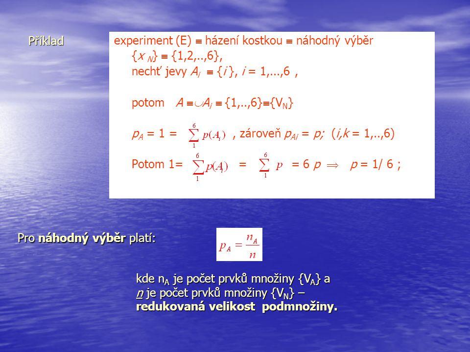 Příklad experiment (E)  házení kostkou  náhodný výběr {x N }  {1,2,..,6}, nechť jevy A i  {i }, i = 1,...,6, potom A  A i  {1,..,6}  {V N } p