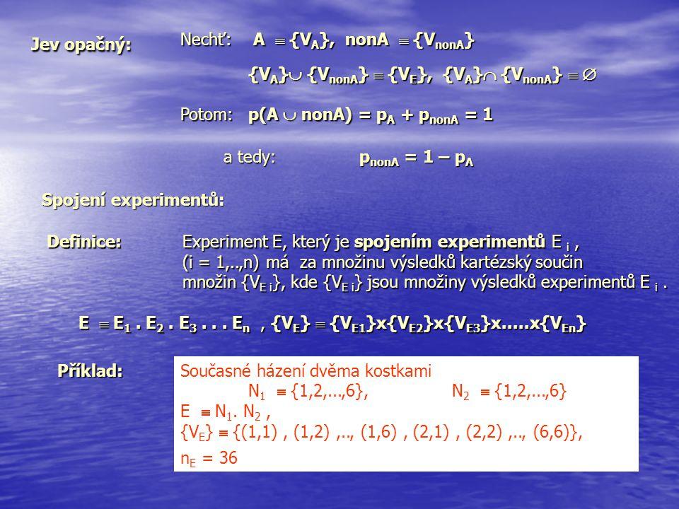 Jev opačný: Nechť: A  {V A }, nonA  {V nonA } {V A }  {V nonA }  {V E }, {V A }  {V nonA }   Potom: p(A  nonA) = p A + p nonA = 1 a tedy:p non