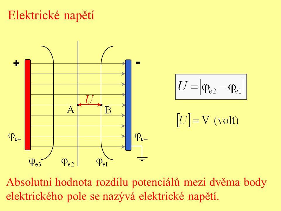 + - Elektrické napětí Absolutní hodnota rozdílu potenciálů mezi dvěma body elektrického pole se nazývá elektrické napětí.