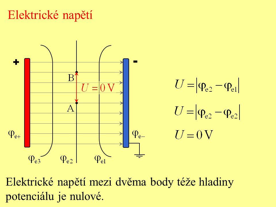 + - Elektrické napětí Elektrické napětí mezi dvěma body téže hladiny potenciálu je nulové.