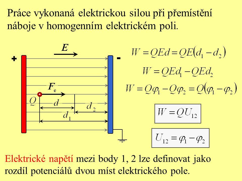 + - Práce vykonaná elektrickou silou při přemístění náboje v homogenním elektrickém poli. Elektrické napětí mezi body 1, 2 lze definovat jako rozdíl p