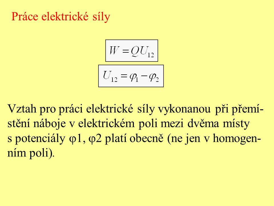 Práce elektrické síly Vztah pro práci elektrické síly vykonanou při přemí- stění náboje v elektrickém poli mezi dvěma místy s potenciály  1,  2 plat