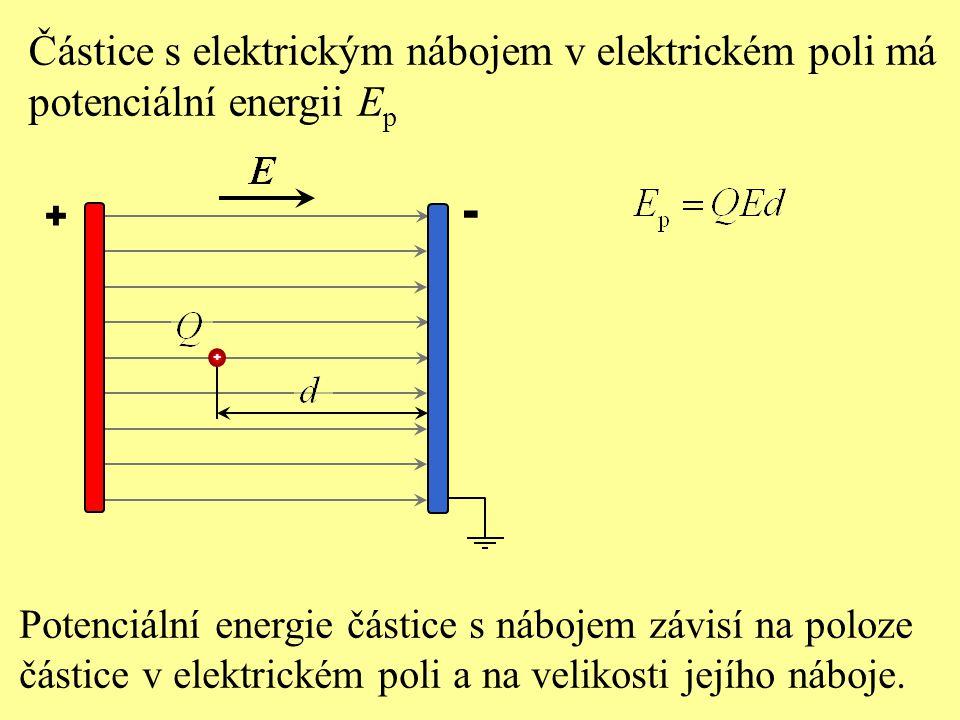 Potenciální energie částice s nábojem závisí na poloze částice v elektrickém poli a na velikosti jejího náboje. + - Částice s elektrickým nábojem v el
