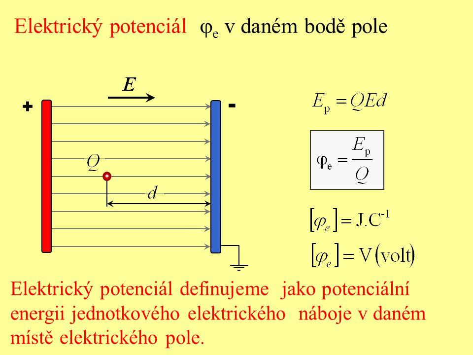 + - + Elektrický potenciál  e v daném bodě pole Elektrický potenciál definujeme jako potenciální energii jednotkového elektrického náboje v daném mís