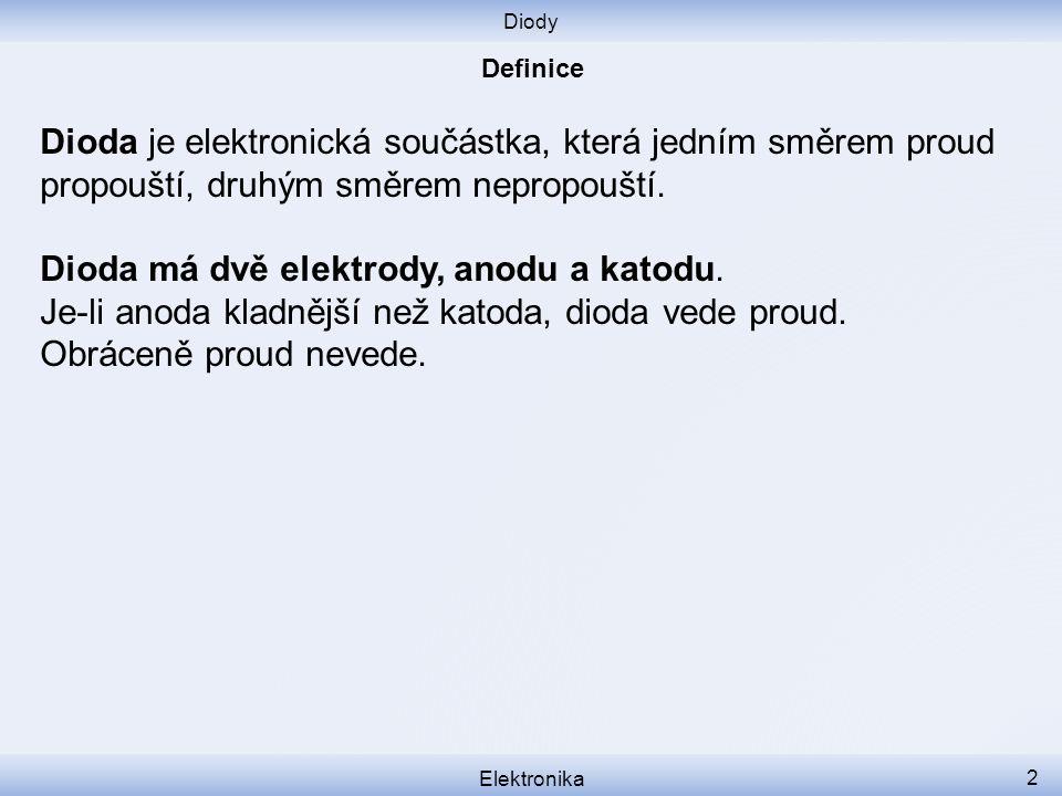 Diody Elektronika 2 Dioda je elektronická součástka, která jedním směrem proud propouští, druhým směrem nepropouští.