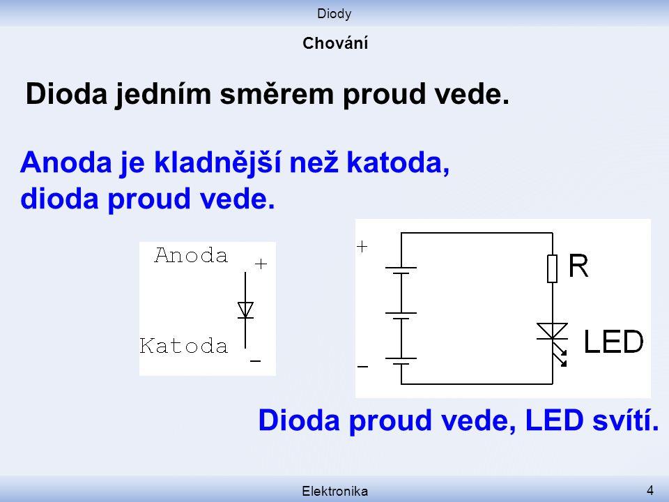 Diody Elektronika 4 Dioda jedním směrem proud vede.