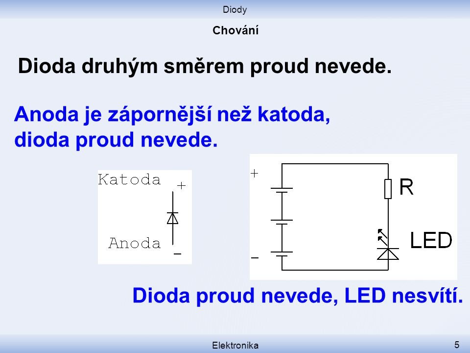 Diody Elektronika 5 Dioda druhým směrem proud nevede.