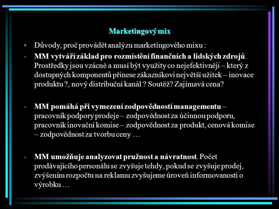 Marketingový mix Důvody, proč provádět analýzu marketingového mixu : -MM vytváří základ pro rozmístění finančních a lidských zdrojů.
