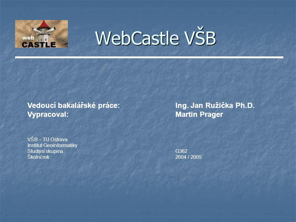 WebCastle VŠB Vedoucí bakalářské práce:Ing. Jan Ružička Ph.D.