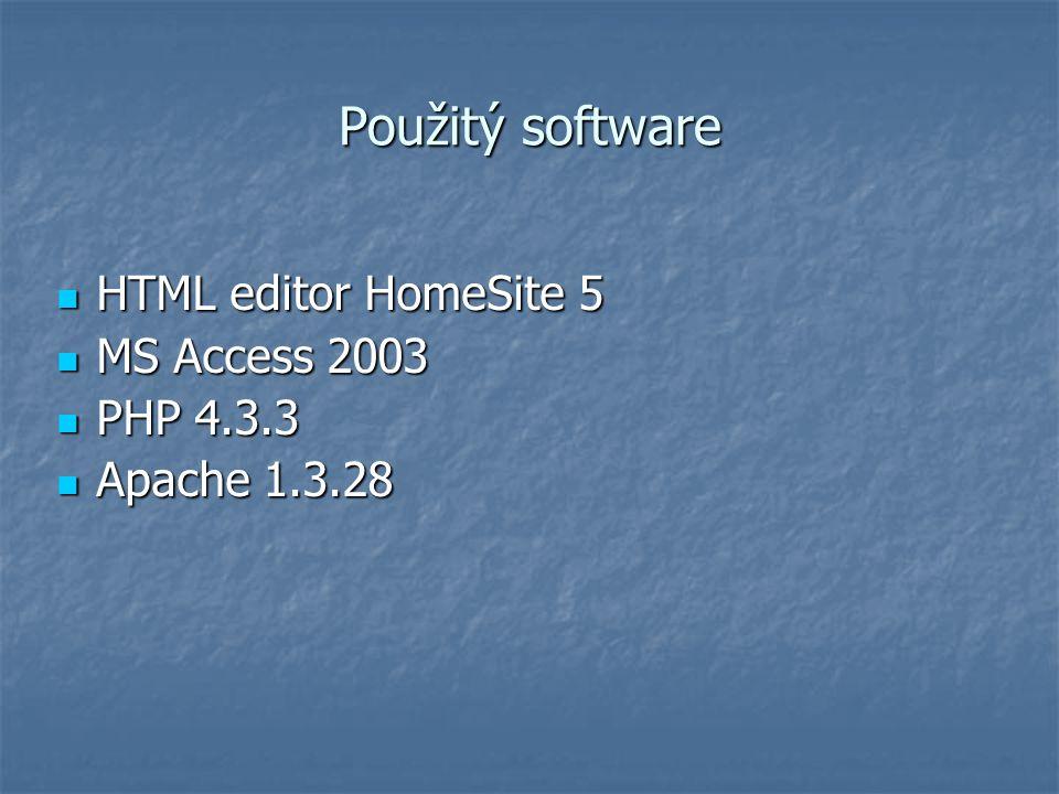 Použitý software HTML editor HomeSite 5 HTML editor HomeSite 5 MS Access 2003 MS Access 2003 PHP 4.3.3 PHP 4.3.3 Apache 1.3.28 Apache 1.3.28