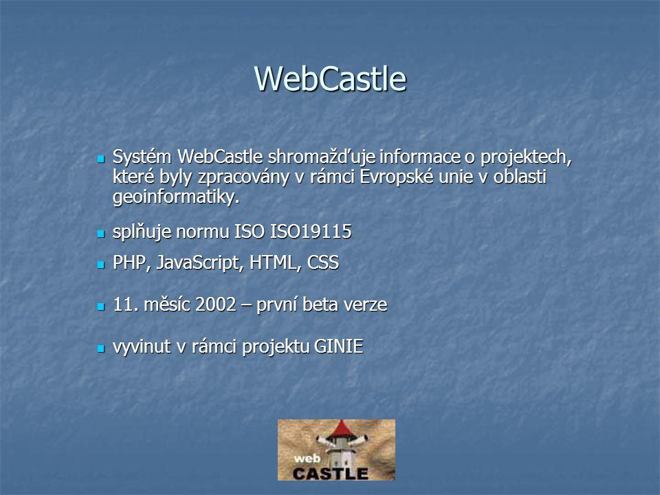 Rozhraní WebCastle http://gis.vsb.cz/webcastle/