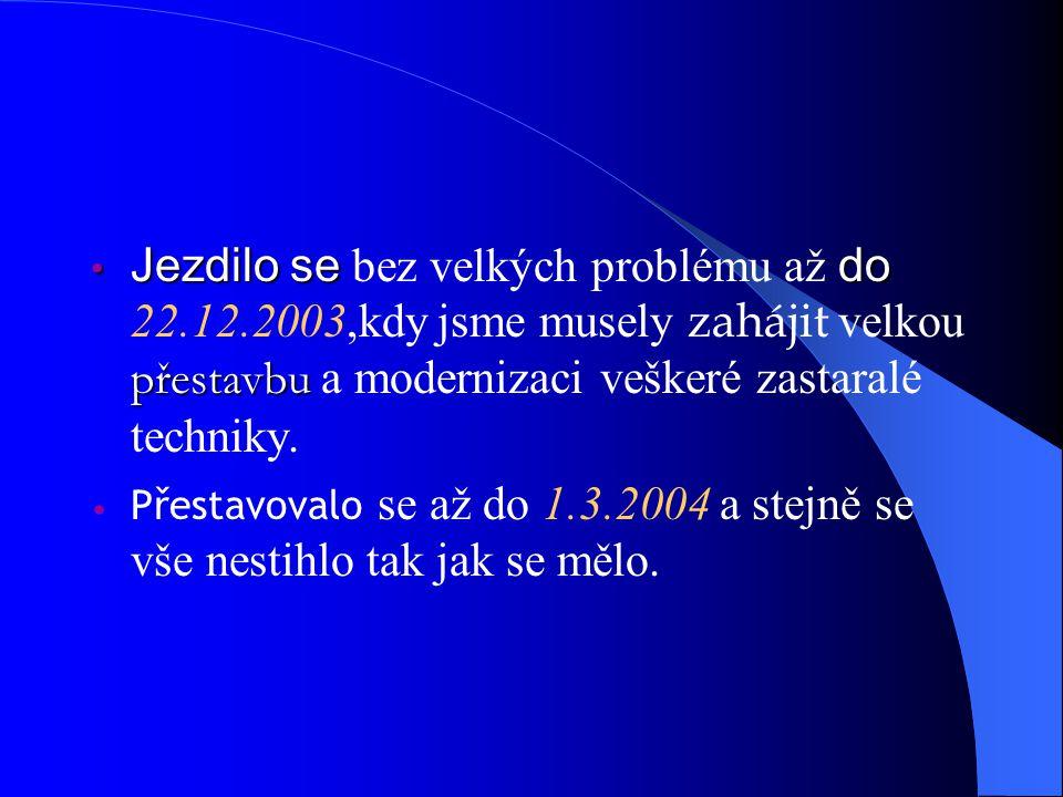 Jezdilo sedo přestavbu Jezdilo se bez velkých problému až do 22.12.2003,kdy jsme musely zahájit velkou přestavbu a modernizaci veškeré zastaralé techniky.