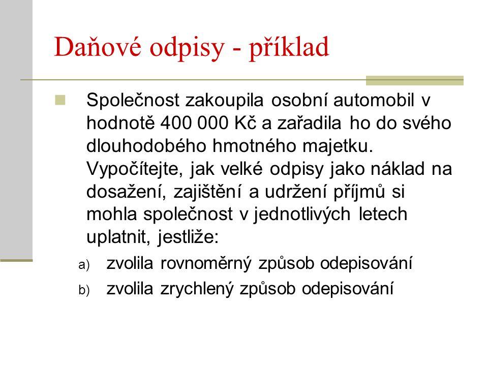 Daňové odpisy - příklad Společnost zakoupila osobní automobil v hodnotě 400 000 Kč a zařadila ho do svého dlouhodobého hmotného majetku. Vypočítejte,