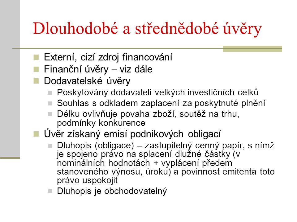 Dlouhodobé a střednědobé úvěry Externí, cizí zdroj financování Finanční úvěry – viz dále Dodavatelské úvěry Poskytovány dodavateli velkých investičníc