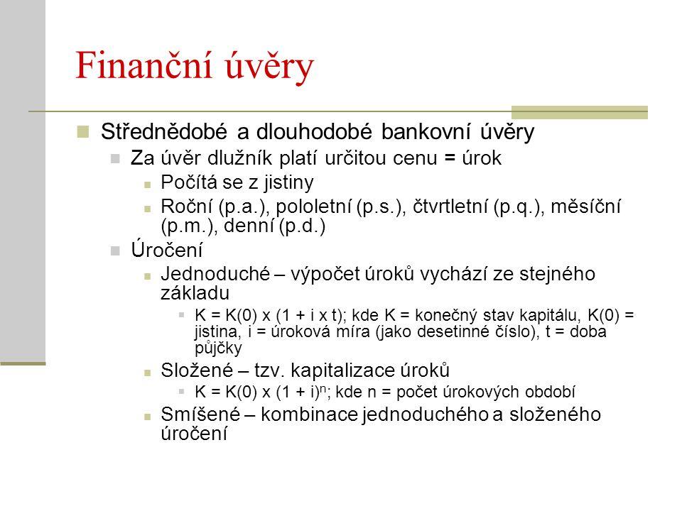 Finanční úvěry Střednědobé a dlouhodobé bankovní úvěry Za úvěr dlužník platí určitou cenu = úrok Počítá se z jistiny Roční (p.a.), pololetní (p.s.), č