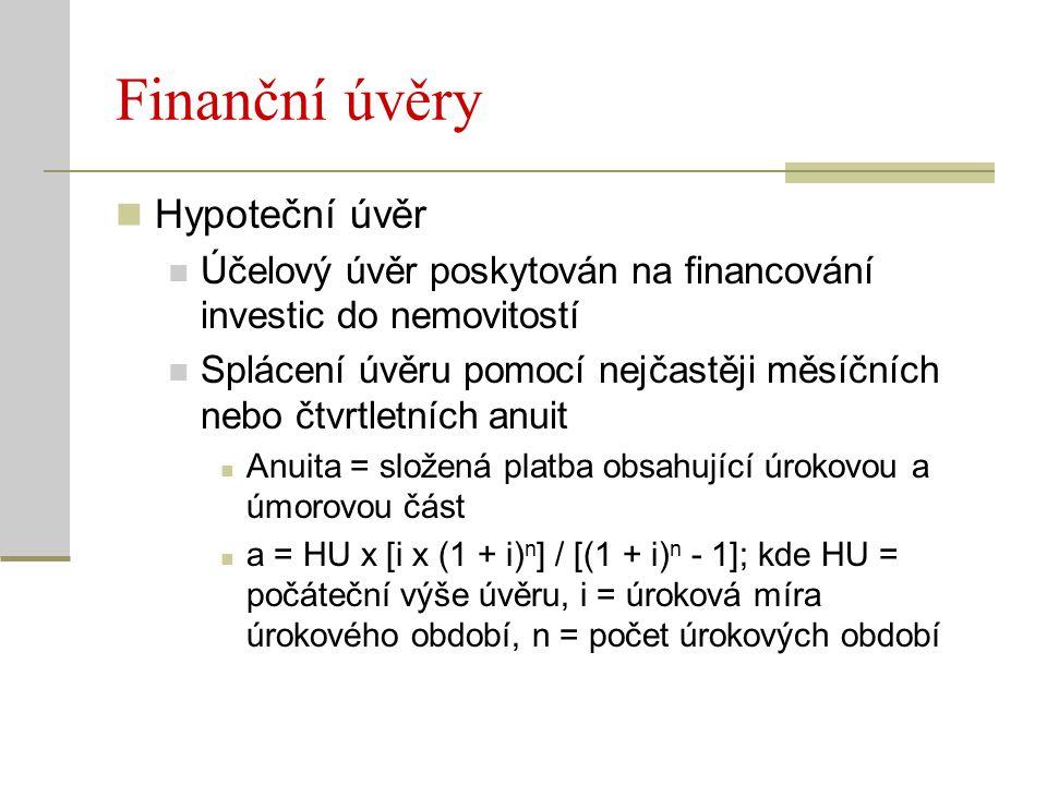 Finanční úvěry Hypoteční úvěr Účelový úvěr poskytován na financování investic do nemovitostí Splácení úvěru pomocí nejčastěji měsíčních nebo čtvrtletn
