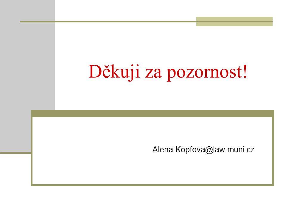 Děkuji za pozornost! Alena.Kopfova@law.muni.cz