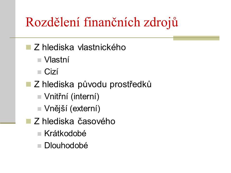 Leasing Cizí, vnější zdroj financování Pronájem konkrétního dlouhodobého majetku pronajímatele za sjednané nájemné nájemci Neobjevuje se v rozvaze nájemce (může zkreslit hodnocení míry zadlužení) Operativní (provozní) leasing Krátkodobý pronájem, na dobu určitou Po uplynutí doby se předmět vrací pronajímateli Finanční leasing Dlouhodobý pronájem O údržbu a pojištění majetku se stará nájemce Doba pronájmu se blíží životnosti majetku, po jejím uplynutí přechází do vlastnictví nájemce